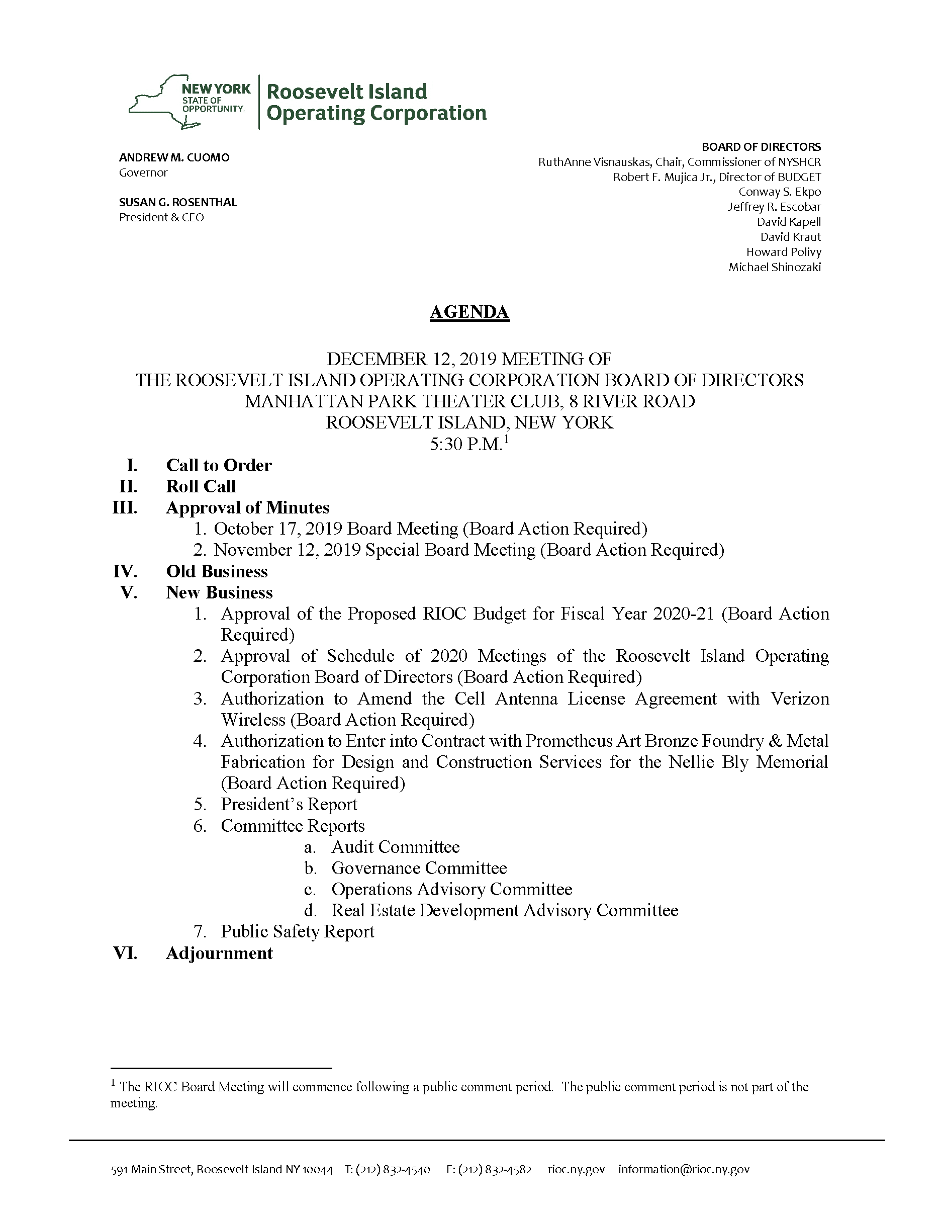 2019 12 12 Board Meeting Agenda